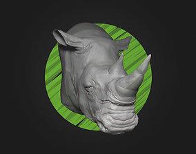 White Rhino Head - High Poly 3D printable model