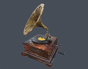 Vintage Gramophone Animated 3D model