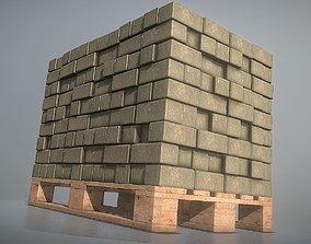 3D model EUR Wood Pallet with Paving Stones