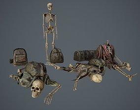 3D model Traveller Skull Skeleton with Bags