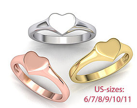 Heart Signet ring Solid and Hollowed version 3dmodel