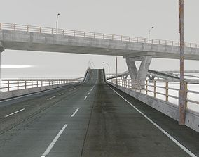 3D asset HIGHWAY AND BRIDGE SET - WITH STREETLAMP AND