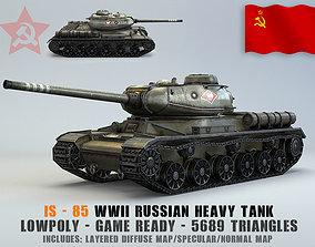 3D asset Low Poly IS-1 85 soviet russian heavy tank