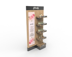 Wood Shelf Display Rack 3D model