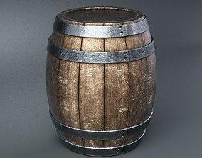 wine-bottle 3D model low-poly Wooden barrel