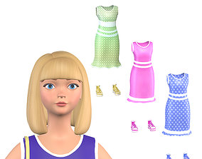 Blonde girl Mary 3D