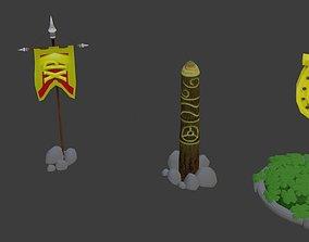 Lowpoly shine objects 3D model
