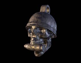 3D printable model Skull with Bullet Pendant