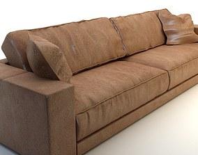 3D model Photorealistic Long Leather Sofa
