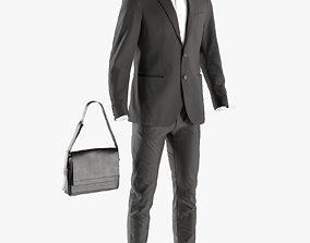 Mens Business Suit with Shirt Bag 6 3D asset