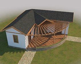 Prefabric House With Pergola 3D