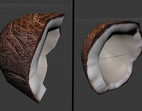 3D model Coconut half with shell