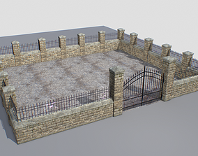 Stone fence wall pack 4 3D asset