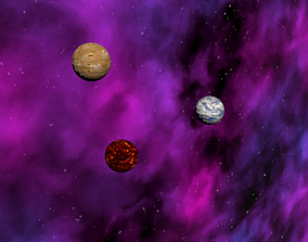 3D asset Planets and Nebula Background and Atmosphere