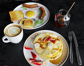 3D Breakfast with pancakes and scrambled eggs