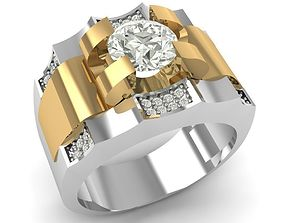 Platinum And Gold Ring With Diamonds 3D print model