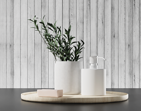 Bathroom accessories with olive branch 3D model
