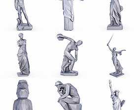 3D asset Popular Sculptures and Statue SET Low Poly