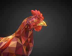 3D asset Christmas Chicken Redhead Low Polygon Art Bird