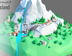Flying island 3D asset rigged