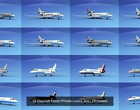 3D model 25 Dassault Falcon Private Luxury Jets