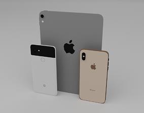 3D model low poly iPhone XS Max Pixel 2 XL and iPad Pro 1