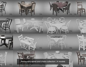 3D Restaurant tables and chairs collection