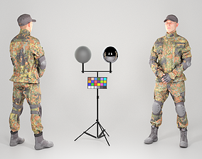 German soldier in uniform with elbow and knee 3D asset 1