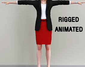 rigged business woman walking 3D asset