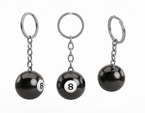 3D Pool Ball Keychain