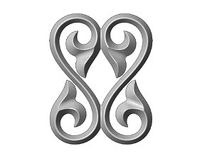 Double floral scroll decoration element 3D printable model