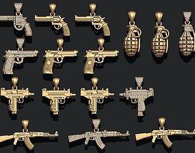 jewel Gun pendants pack 3D printable model