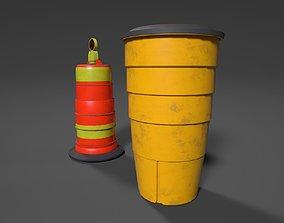 3D model game-ready Road safety barrel PBR