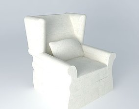 White armchair 3D model chair