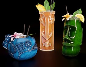 3D Tiki cocktail cup and mugs
