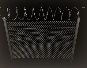 Barbed wire fence PBR 3D model