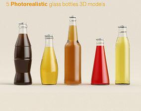 Glass bottle pack 3D asset realtime