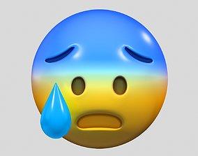 3D Emoji Fearful Face heart