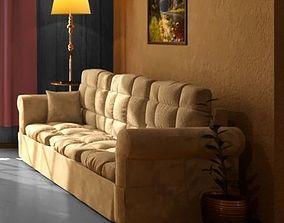 Sofa and Sofa OriginalPolys 3D asset
