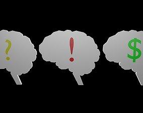 Low poly brain symbol 4 3D asset