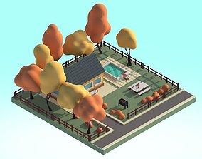 game-ready Cartoon House 3d Illustration Scene