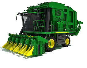 3D Green John Deere Cotton Picker