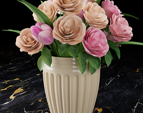 3D model Vase with flowers blossom