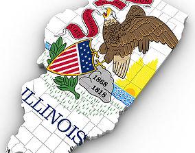 Illinois Political Map 3D