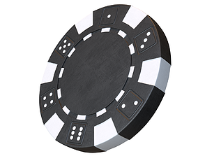 Casino chip 3D model black poker chip