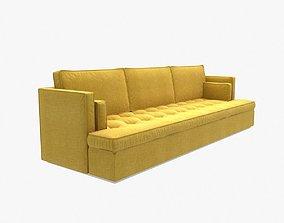 3D model red fox yellow sofa