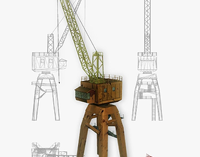3D asset Port gantry crane 5 low poly