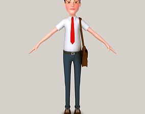 3D Cartoon Man with Bag