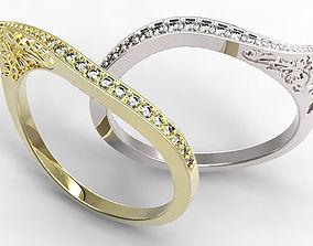 sapphires Gold Ring 3D print model