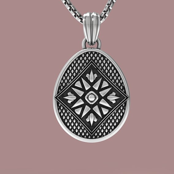 Easter egg Pisanka pendant with Traditional ornament